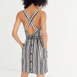 Madewell Apron Button Back Mini Striped Dress